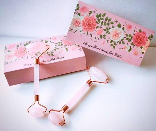 Luxe Rosaya Quartz Jade Roller - Anti Aging - Anti Rimpels - Rozenkwarts Massage Roller - Huidverzorging – Gezichtsmassage Roller - Rozenkwarts Roller -