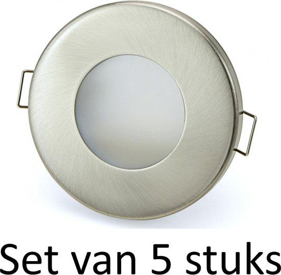 3W GU10 badkamer inbouwspot Zilver mat rond | Koel wit |Set van 5 stuks