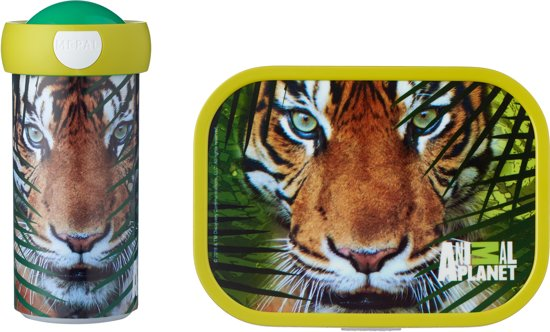 Mepal Campus Lunchset - Schoolbeker en Lunchbox - Animal Planet Tijger - Groen