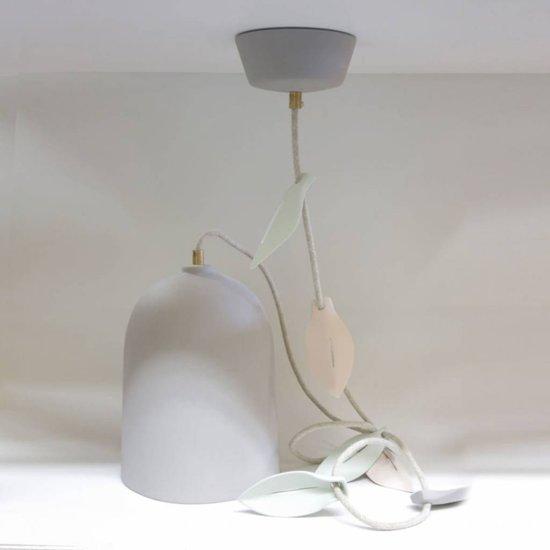 Studio Harm en Elke Hanglamp porselein blad grijs – linnen snoer