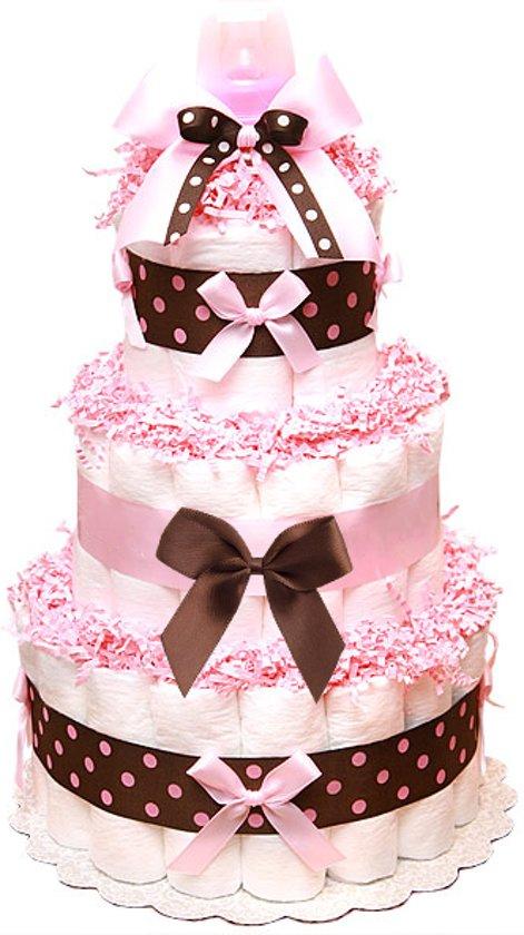 Pampertaart / luiertaart meisjes 3-laags roze  / chocolade maat 1 (2-5 kg) Kraamcadeau, Babyshower, Geboortecadeau