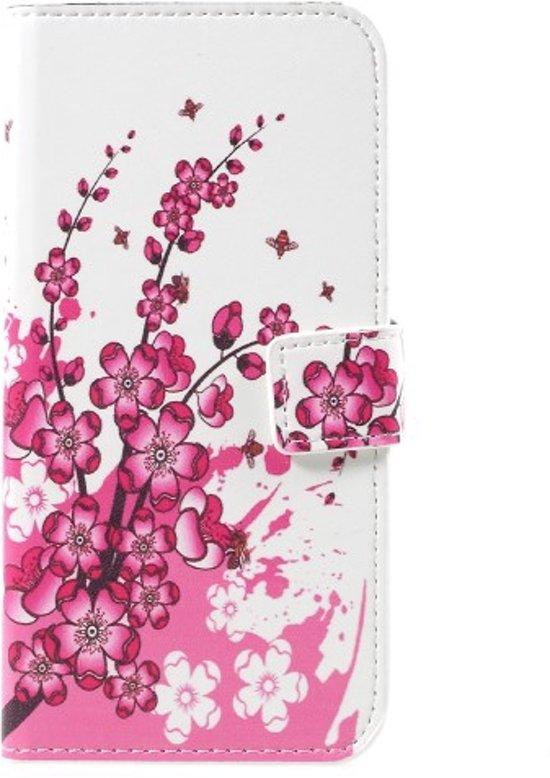 Samsung Galaxy S8 Hoesje Roze Bloemen met Opbergvakjes in Klein Hanssum
