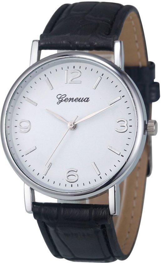 Fako Bijoux® - Horloge - Geneva - Classic Zilverkleurig - Zwart
