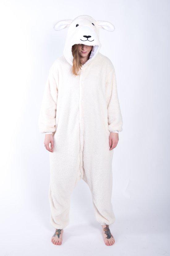 18339d741a3 KIMU Onesie schaap kinder pak lammetje - maat 146-152 - schapenpak jumpsuit  pyjama