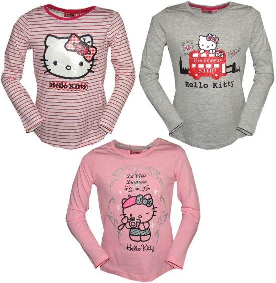 Hello Kitty meisjes t-shirt - set van 3 - maat 116