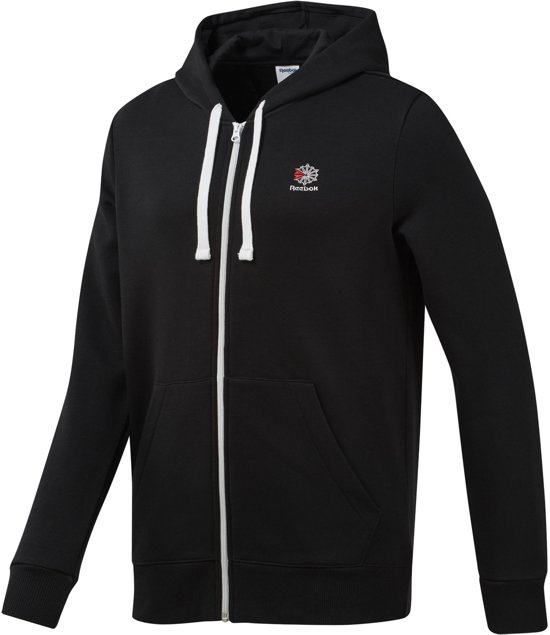 Full Zip Classics Sportvest Hoodie Reebok Fleece HerenBlack FJcKul3T15