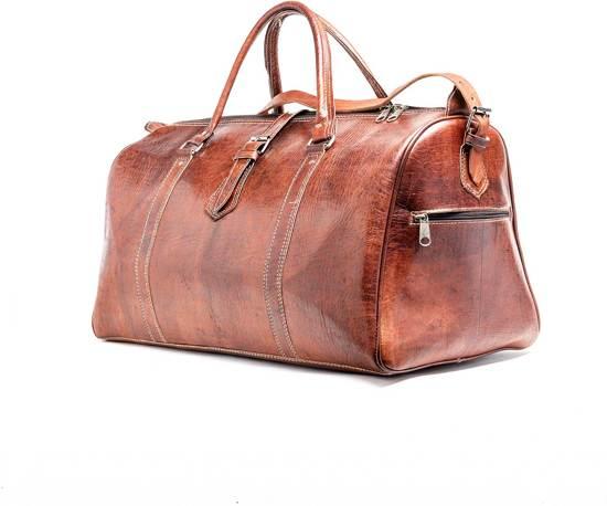 5255326f175 Leren Weekendtas Cognac - Reistas - Weekender - Duffle Bag - Studs & Stones