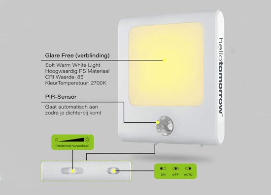 Nachtlampje Stopcontact Bewegingssensor - Lampje Voor Baby - Kind - Volwassenen & Slaapkamer - Warm Wit Led Verlichting - 2 Stuks + 2x Kinder Beveiliging