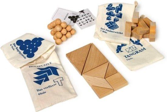 Behendigheidsspel 4x houten IQ breinbrekers in zakje