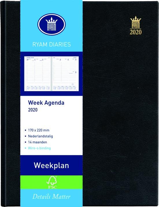 Ryam Bureau Agenda 2020 - 17 x 22cm - Zwart - Wekelijks