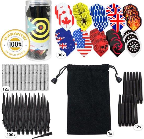 Softip Dartset bestaande uit 12 softips dartpijlen voor een electronish dartbord. 30 flights in 10 aantrekkelijke designs en 100 reserve softips