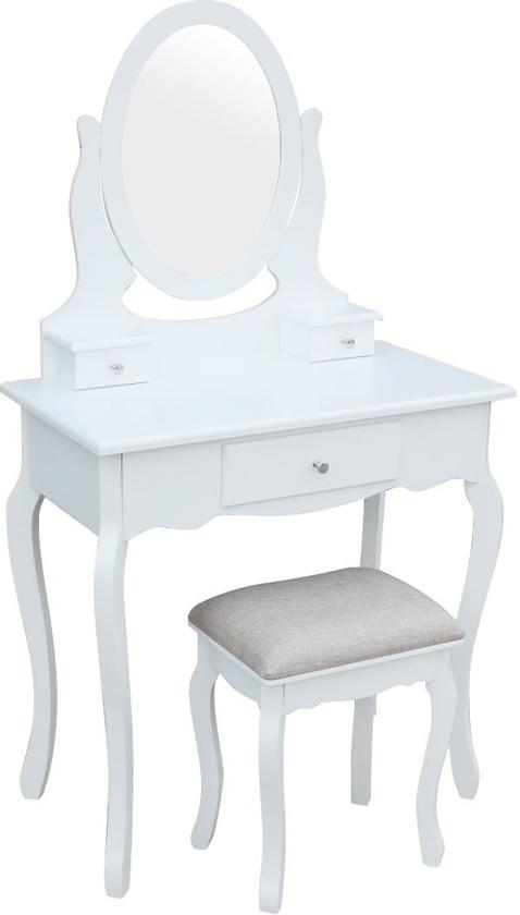 Make up visagie tafel kaptafel Lunawina met spiegel en krukje wit