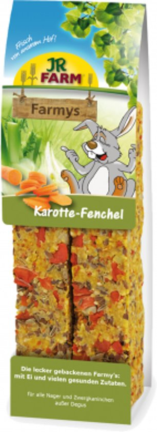 JR Farm - Farmys Wortel/Venkel - 160g - Verpakt per 3 doosjes - Knaagdierensnack
