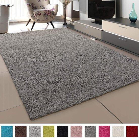 Vloerkleed licht grijs effen hoogpolig tapijt loca 160x230cm - Grijs tapijt ...