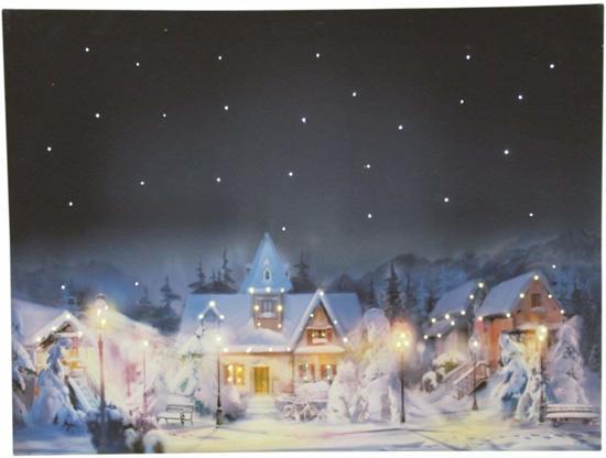 canvas op houten frame dorp in kerstsfeer led verlichting kerst