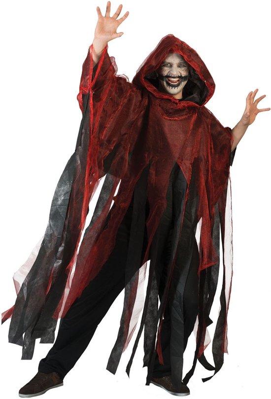 Rode en zwarte Halloweencape voor volwassenen - Verkleedattribuut