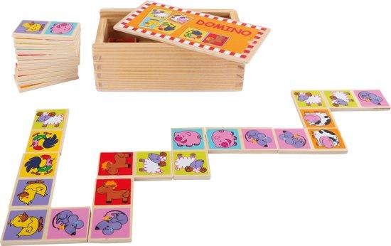 Afbeelding van het spel Small foot Domino boerderij dieren 28 stenen