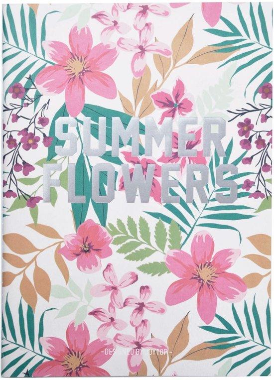 """Notitieboek/agenda """"Summer Flowers"""" – Roze/Groen"""