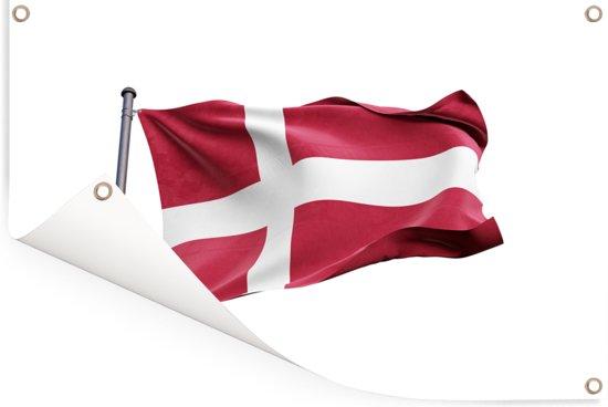 Wapperende vlag van Denemarken op een witte achtergrond Tuinposter 60x40 cm - klein - Tuindoek / Buitencanvas / Schilderijen voor buiten (tuin decoratie)