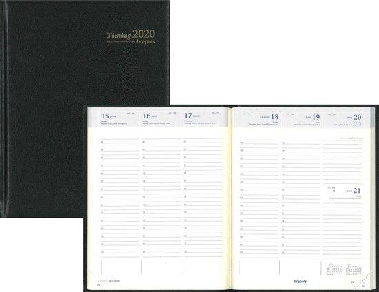 Afbeelding van 13 maanden agenda 2020 timing - Brepols - 6-talig - 7d/2p - Zwart