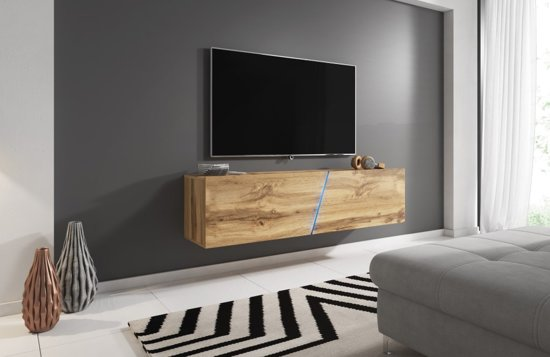 Tv Meubel Zwevend Hout.Bol Com Zwevend Tv Meubel Eiken Led Verlichting Clean Design