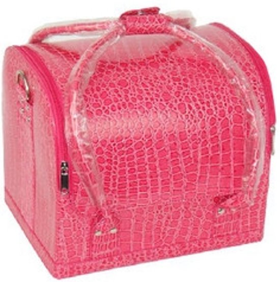 Beauty case, Nagel koffer, Beauty tas, Nagel tas, Make up koffer/tas Croco print PINK