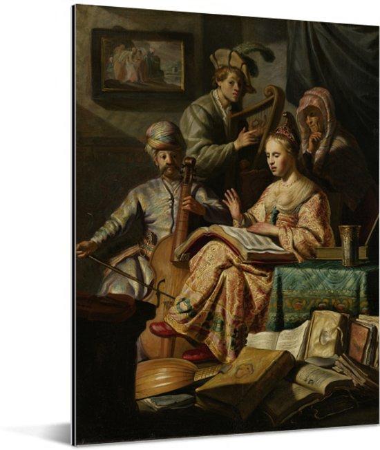 Het Musicerend gezelschap - Schilderij van Rembrandt van Rijn Aluminium 60x80 cm - Foto print op Aluminium (metaal wanddecoratie)