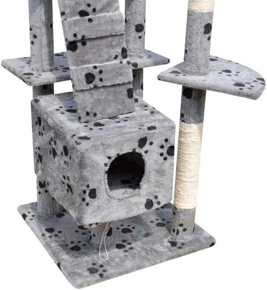 Krabpaal Tommie - 220/240 cm 3 huisjes - Grijs met pootafdrukken