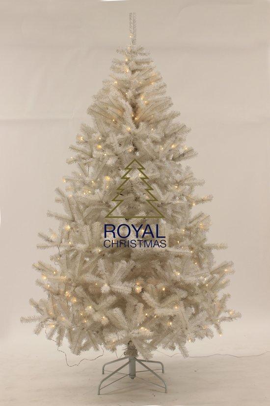 witte kunstkerstboom maine pvc lengte 150 cm met 150 warm led lampjes 575