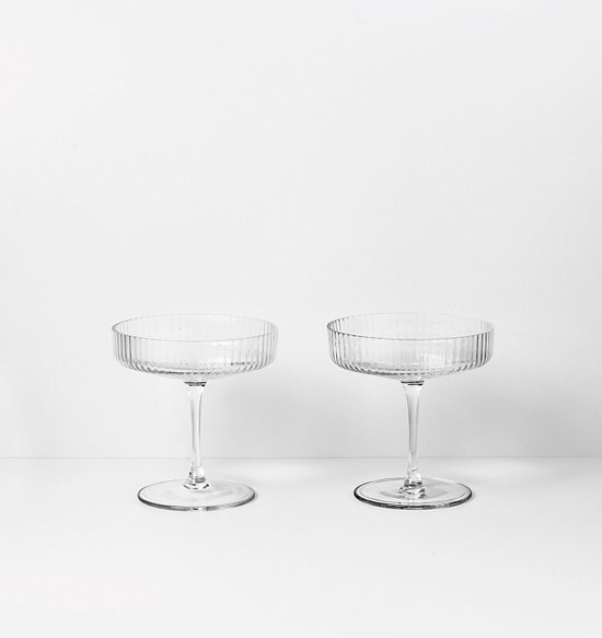 FERM LIVING - Ripple Glass - Glazen set van 2 - champagneglas