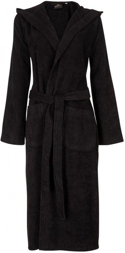Unisex badjas zwart - badstof katoen - capuchon - maat L/XL