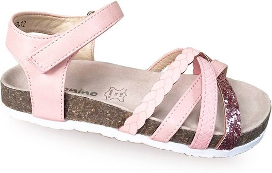 Hippe, comfortabele zomer sandalen   roze en glitters, binnenzool echt leer, zacht voetbed en klittenband sluiting