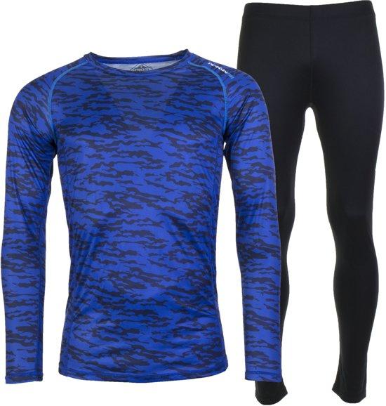 Tenson Caspian Print Thermoset  Sportshirt performance - Maat M  - Mannen - blauw/zwart