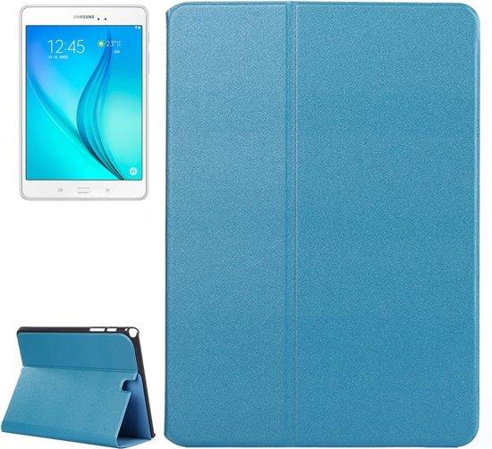Frosted structuur lederen hoesje met houder voor Samsung Galaxy Tab A 9.7 T555 4G LTE(blauw)