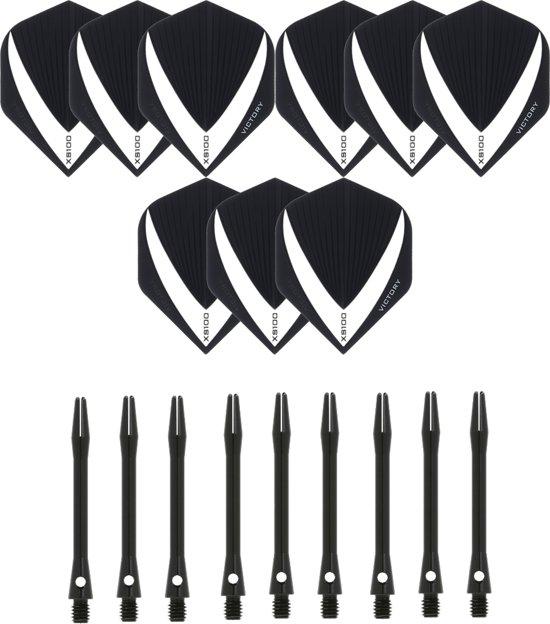 3 sets (9 stuks) Super Sterke – Wit/Clear - Vista-X – darts flights – inclusief 3 sets (9 stuks) - medium - Aluminium - zwart - darts shafts