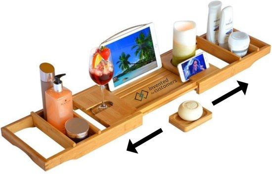 Luxe bamboe badrekje - Bamboe badplank - Inclusief luxe zeephouder