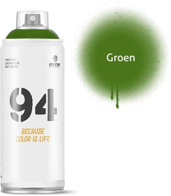 MTN94 Groene spuitbus - 400ml lage druk en matte afwerking spuitverf - Graffiti verf voor vele doeleinden zoals voor diy, klussen, graffiti, hobby en kunst