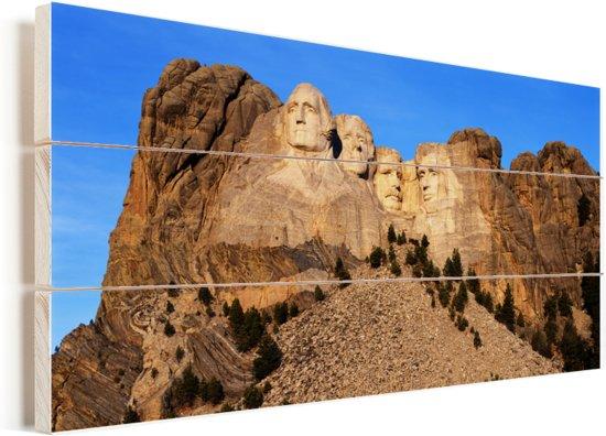 De Amerikaanse Mount Rushmore in South Dakota tijdens een zonnige dag Vurenhout met planken 40x20 cm - Foto print op Hout (Wanddecoratie)