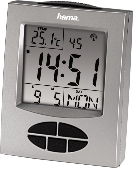 Hama Rc330 - Wekker - Radio Gestuurd - 9x7cm - Zilver