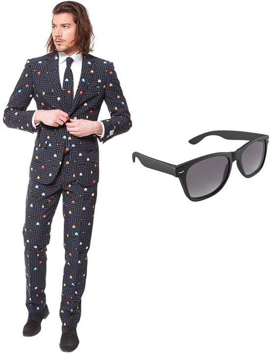 Pac-Man print heren kostuum / pak - maat 52 (XL) met gratis zonnebril