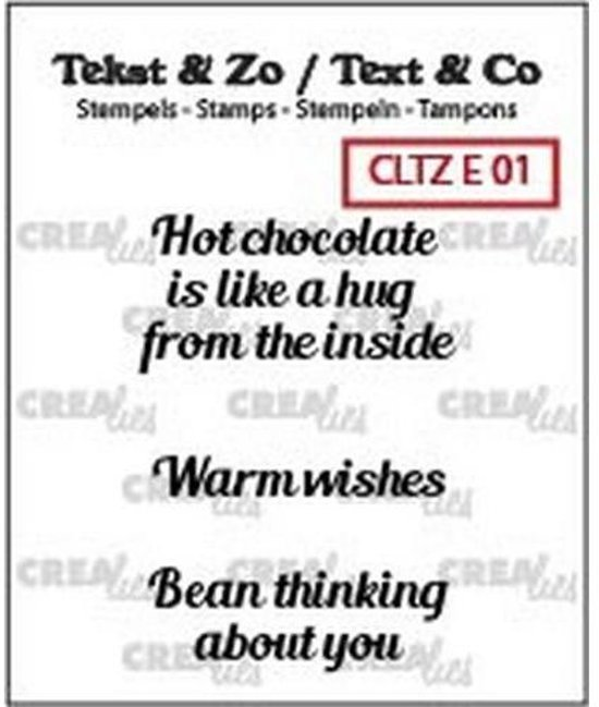 Crealies stempel Tekst & Zo hot chocolate. warm wishEngels CLTZE01