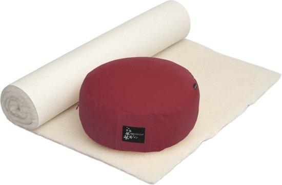 Yoga-Set Comfort Edition - Meditation natur 75 x 200 cm bordeaux Fitnessmat YOGISTAR