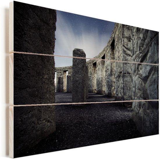 Stonehenge van de binnenkant Vurenhout met planken 90x60 cm - Foto print op Hout (Wanddecoratie)
