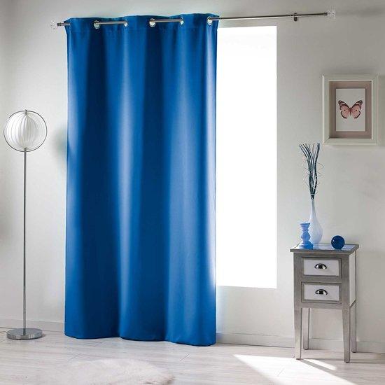 rideau verduisterend gordijn blauw 140x240 cm kant en klaar met ringen