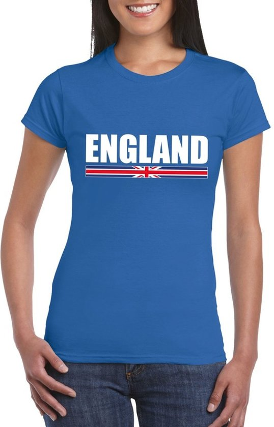 Blauw Engeland supporter t-shirt voor dames XS