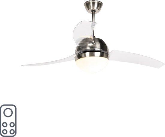 bol.com | QAZQA CF Bora - Plafond ventilator met lamp - Staal