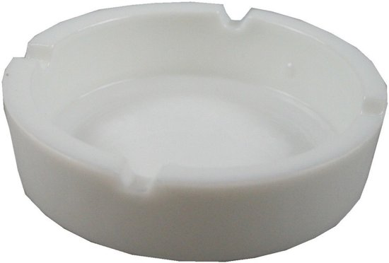 Witte asbak van porselein - 10 cm - asbakken