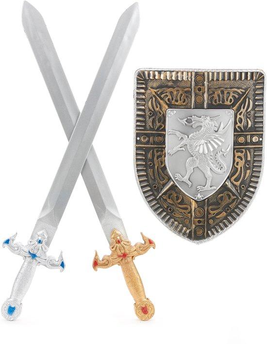 Gladiatorset schild en 2 zwaarden voor kinderen - Verkleedattribuut