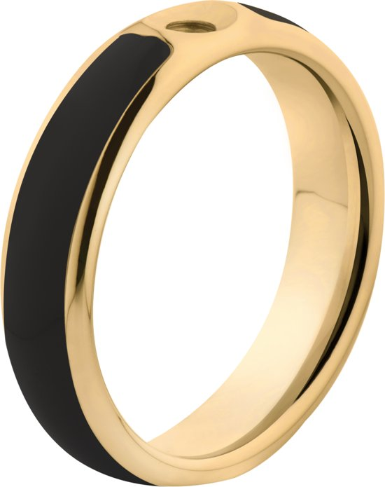Melano Twisted Tracy resin ring - dames - goldplated + black resin - 5mm - maat 65