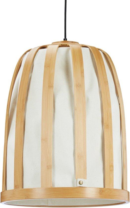 bol.com | relaxdays hanglamp bamboe - lampenkap met stof - grote ...